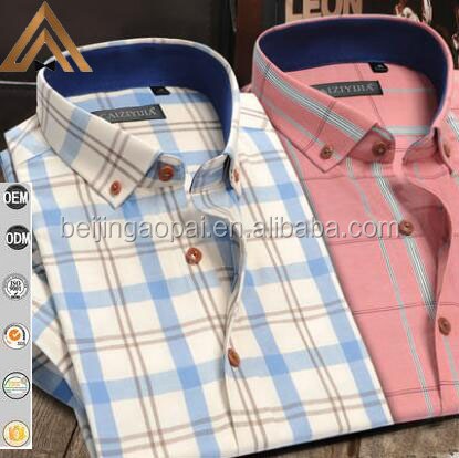 High quality readymade garments 85% polyester 15% cotton casual men half sleeve plaids twill bangladesh shirts