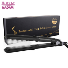 NEW Customized Flat Iron Professional Personalized Vapor Steam Hair Straightener with Argan Oil