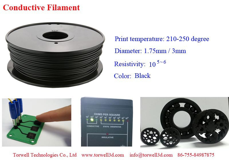 High quality 1.75 / 3mm 3D printing Conductive ABS plastic material for 3D printer and 3D pen