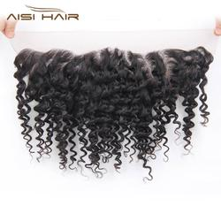 afro kinky curl human hair lace frontal piece curly lace frontal elastic band lace frontal closure