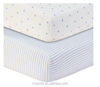 100% cotton percale printed fitted cot bed sheet