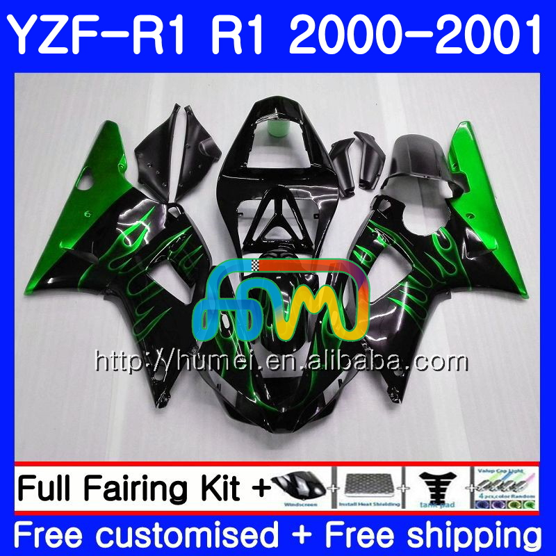 Body For YAMAHA YZF R 1 green flames YZF 1000 YZF-<strong>R1</strong> <strong>00</strong>-<strong>01</strong> Bodywork 98HM22 YZF1000 YZF-1000 YZF <strong>R1</strong> <strong>00</strong> <strong>01</strong> YZFR1 2000 2001 Fairing