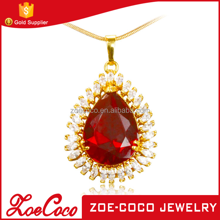 China manufacturer dubai design gold pendant fancy pave diamond pendant tear drop shape large red gemstone pendant for wedding