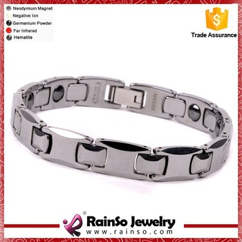 Silver color mens tungsten bracelet