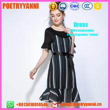 POETRYYANNI Stripe Women Summer Short Sleeve Bow Belt falbala solid Sweet Slim Casual fishtail Dress