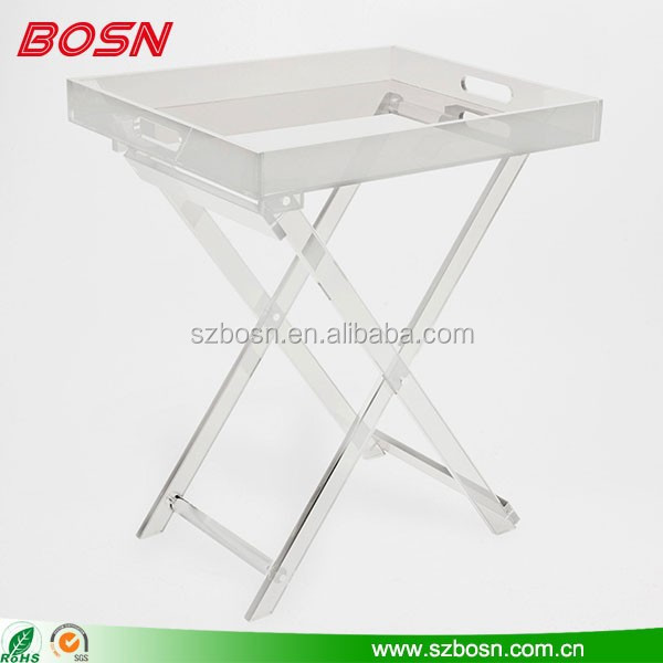 Luxury Design Clear Acrylic Folding Tray Table For Sale