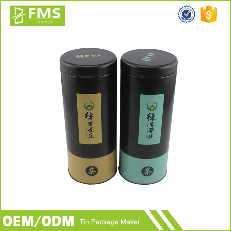 Wholesale Custom Printed Round Cylinder Matte Black Metal Tea Packaging Tin Box