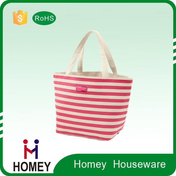 New Product Stripe Printing Foldable Reusable Canvas Shopping Bag, Canvas Tote Shopping Bag