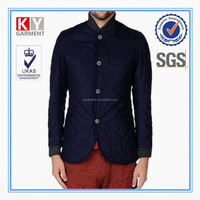factory direct OEM baseball style navy quilting seam men's wool coat