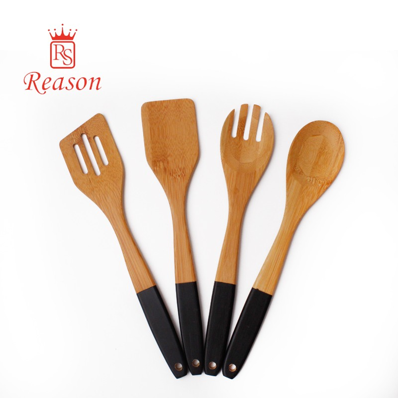 Kitchen Cooking Bamboo Utensils Set of 4, Wooden Serving Cooking Spoons and Spatula