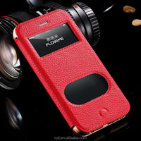 FLOVEME Flip Genuine Leather Case For IPhone 6 Smart Folding Case Cover For IPhone 6 Plus Double Window For IPhone 6 Case