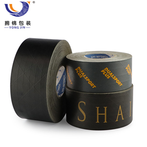 Plain Black Reinforced Water Activated Custom Packaging Carton Sealing Gummed Kraft Paper Tapes