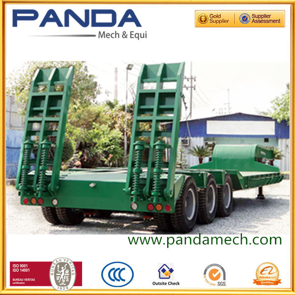 3 axle low bed semi trailer for earth mover excavator forklift transportation