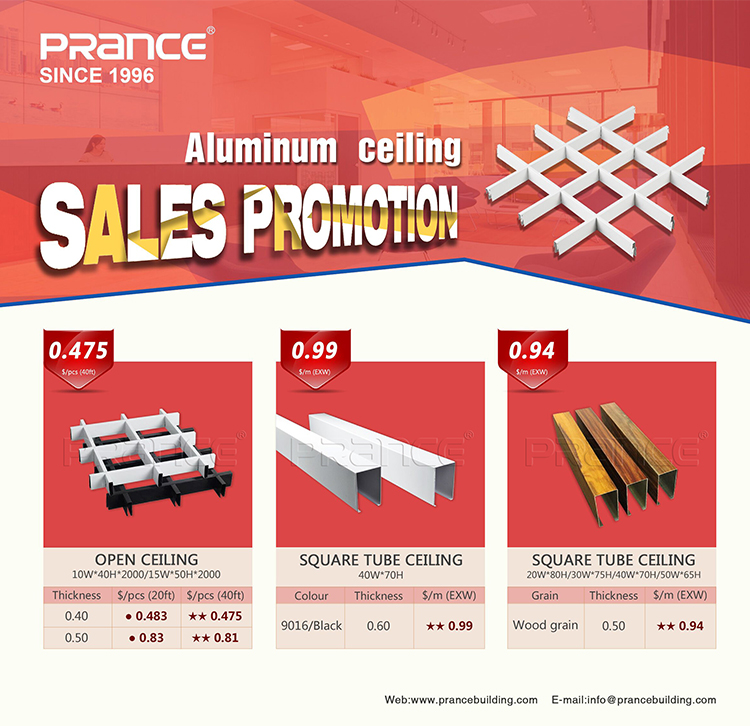 Aluminum Types of Ceiling Materials Drop Ceiling Grid