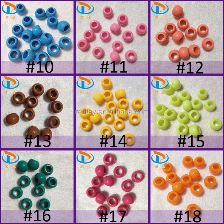 2017 New Arrival 14mm Large Hole Jewelry Loose Acrylic Solid Pony Beads Wholesale