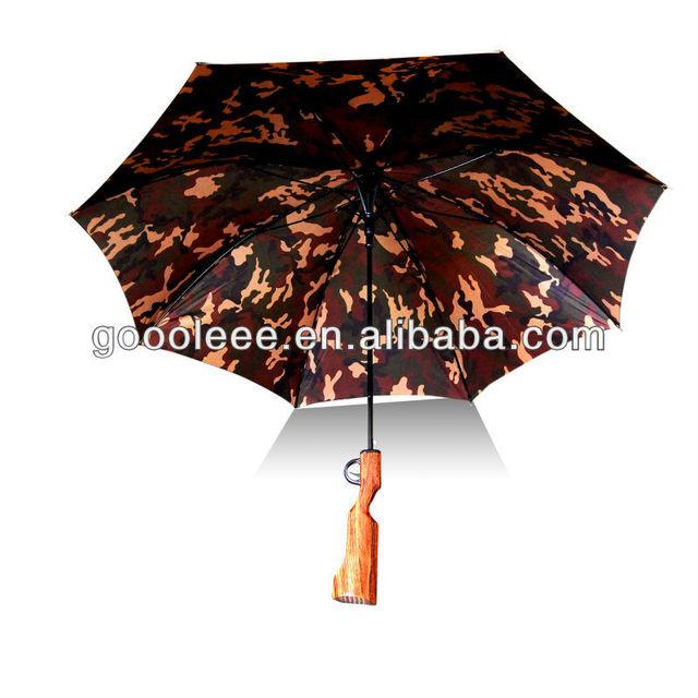 Fantastic umbrella 25 inch 8K Straight camouflage Wooden gun Handle umbrella