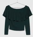 Guangzhou latest european style women halter long sleeve blouse, sexy halter green blouse