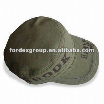 100% Cotton Canvas Military Hat with Print On Crown and Peak, with Size of 58cm