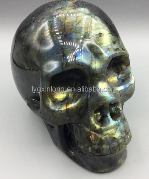 Hand Carved 6.0inch Natural Labradorite stones Quartz Heads Crystal Stone Skulls & Bone For Sale