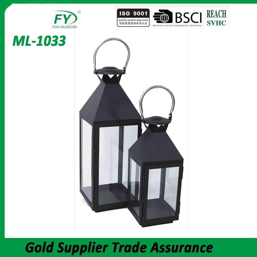 ML-1033 Set of 2 Made In China Wholesale Festival Garden Decoration Hurricane Metal Lantern