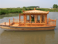 4.8meter small gaily painted wooden boat with motor