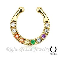 16G Colorful Rhinestone Gold Plated Clip On Fake Piercing Septum