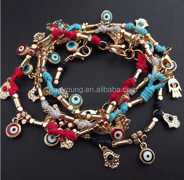 Best selling braided hand of fatima evil eye tennis bracelet
