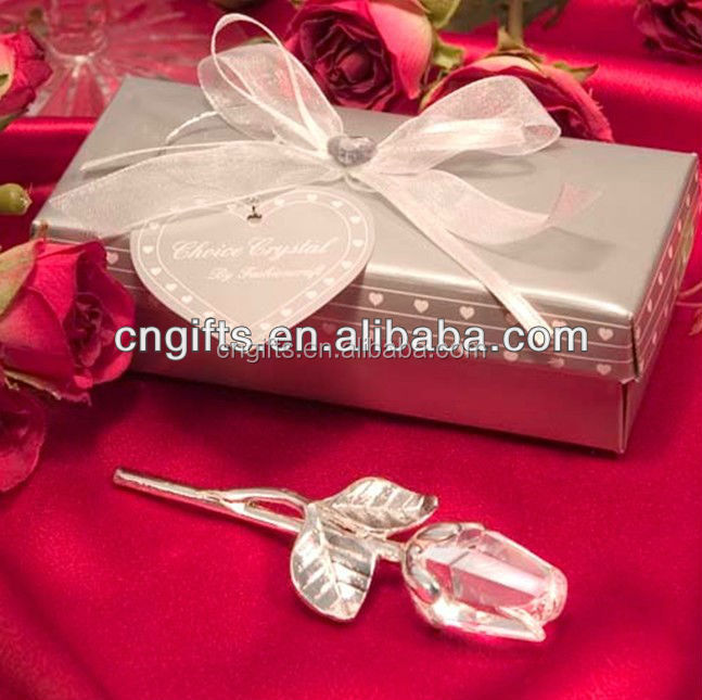 Ywbeyond best friends wedding gift Crystal Rose Flower with Long Stem Romantic gift crystal rose Good Birthday Gifts for Girls