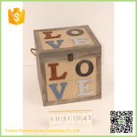 Europe design decorative small wooden boxes wholesale with handle