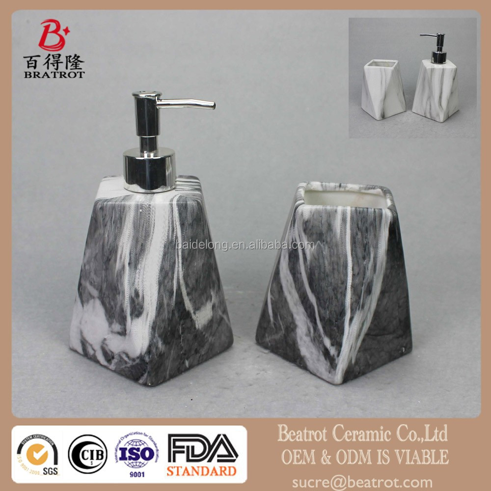 2 Piece Grey Faux-Marble Ceramic Bathroom Accessory Set