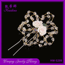 High end artificial roses decorative crystal beads bridal hair accessories