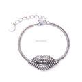 Romantic Gift for Girlfriend Shiny Crystal Smile Sexy Lip Women Silver Bracelet