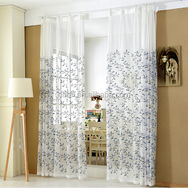 2017 European Luxury Wholesale Tulle Bedroom Floral Print Sheer Curtain