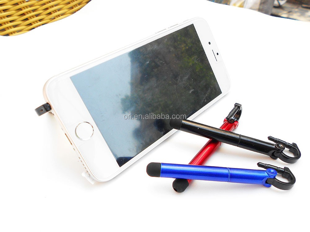 Mini new design stylus touch twist pen with phone holder multi function pen