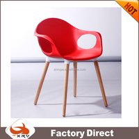Colorful Cheap Modern PP ABS designer wooden Armrest Plastic Chairs