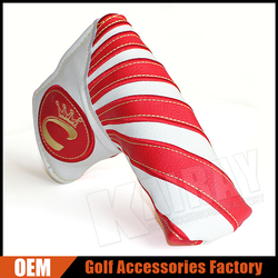 Custom Golf Putter Cover White & Red Stripe PU Leather Magnetic Closure Golf Putter Headcover