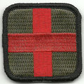 Medic Cross Tactical Patch - Olive & Red by