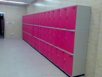 Staff and worker clothes locker room benches with key lock