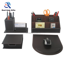 High Quality Business Table Organizer 4 Pieces PU Leather Office Desk Set Stationery