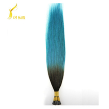 Keratin glue 100 virgin Brazilian remy human hair ombre color aliexpress double drawn I stick tip hair extension for black women