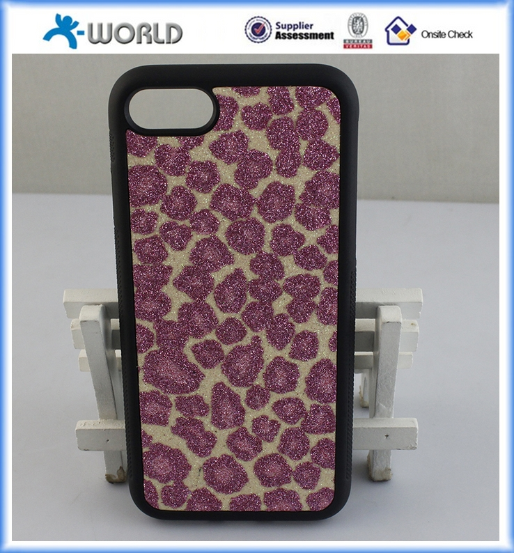 Leopard carbon fiber PU leather PVC Skin TPU PC Bumper Case for iphone 7