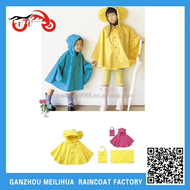 Fashion Kids Rain Poncho Nylon Waterproof Cute Rain Poncho for Boys and Girls