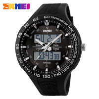 Big face leisure style dual time EL backlight design your own watch hot sale