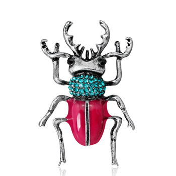 Fashion beetle brooch blue crystal insect inspired animal brooch pins flying beetle ladies for birthday gift