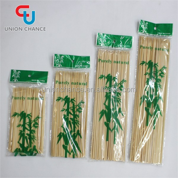 90pcs Round Bamboo Sticks Eco BBQ Sticks Wholesale Two Points Fruit Sticks