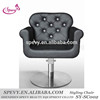 black leather with crystal buttons styling chair with stainless steel base