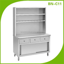 BN-C11 Hotel restaurant kitchen equipments stainless steel bench cabinet with sliding doors&drawers&shelves
