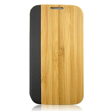 Bamboo Leather Flip Phone Case Cover For Samsung Galaxy S4