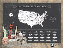 Amazing Places USA Map Scratch off USA map X-Large Black scratch off USA map AMA-16