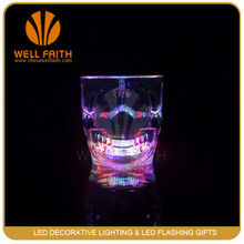 Plastic liquid activated skull beer mug with flashing LED for bar&party(450ml)